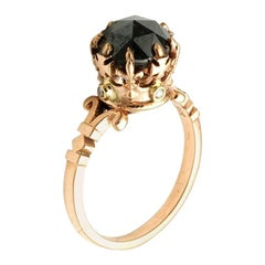 Rose Gold Rose Cut Black Diamond Imperial Crown Ring