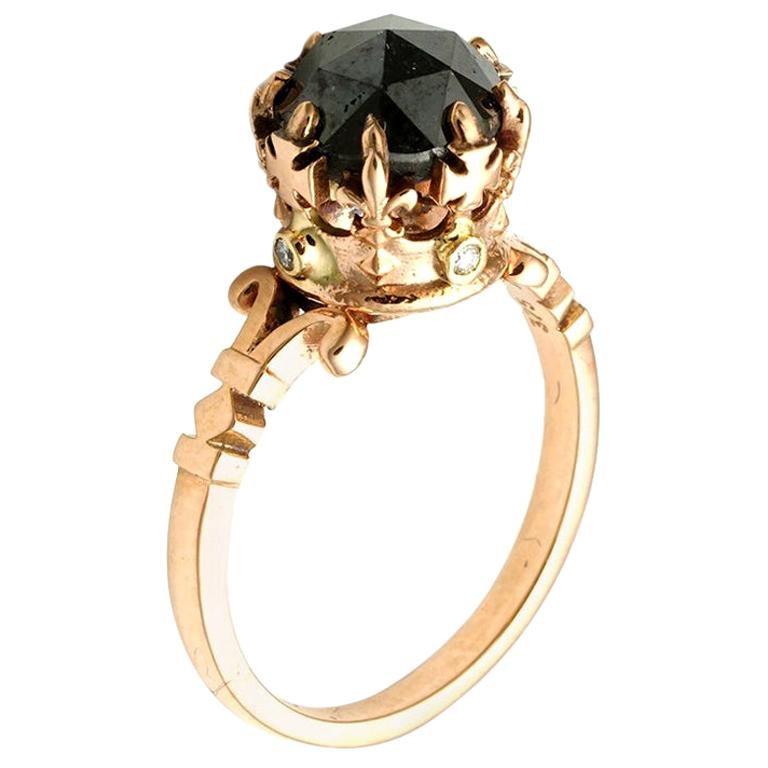 Rose Gold Rose Cut Black Diamond Imperial Crown Ring For Sale