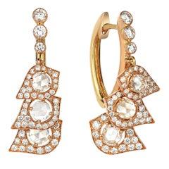 Rose Gold Rose Cut Diamond Cocktail Earrings