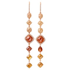 Nina Runsdorf Rose Gold Rough Diamond Line Earrings