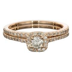 Rose Gold Round Diamond Cushion Halo Engagement Ring Wedding Set