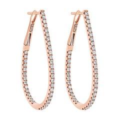 Rose Gold Round Diamond Teardrop Hoop Earrings