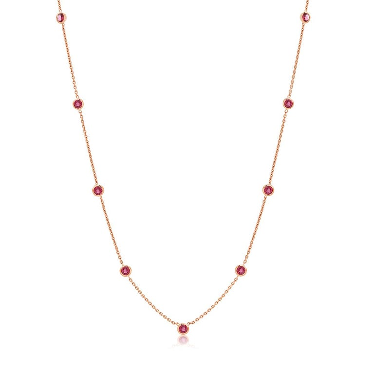 Round Cut Rose Gold Ruby Bezel Set Pendant Necklace Weighing Two Carat For Sale