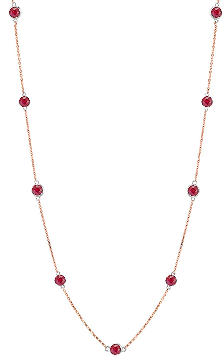 Modern Rose Gold Ruby Bezel Set Pendant Necklace Weighing Two Carat For Sale