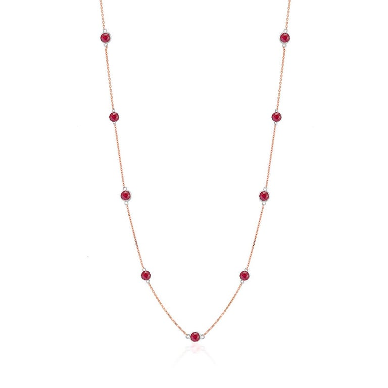Women's or Men's Rose Gold Ruby Bezel Set Pendant Necklace Weighing Two Carat For Sale