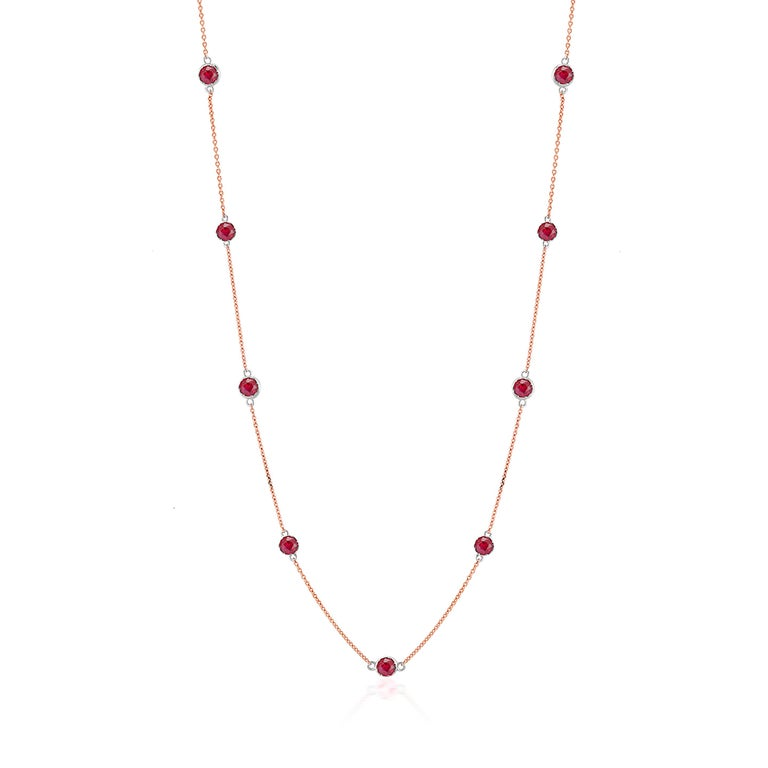 Rose Gold Ruby Bezel Set Pendant Necklace Weighing Two Carat For Sale 1