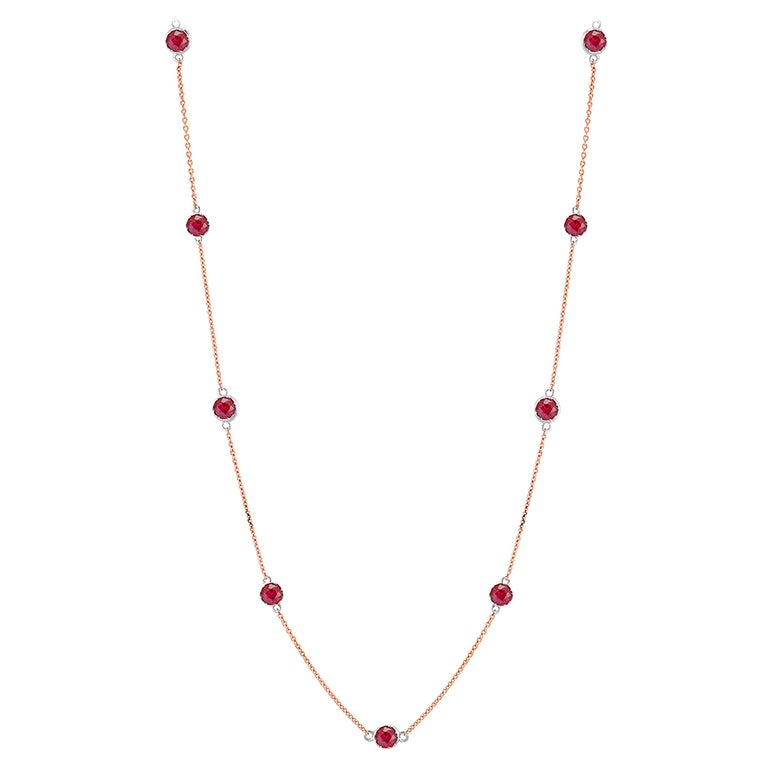 Rose Gold Ruby Bezel Set Pendant Necklace Weighing Two Carat For Sale