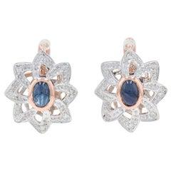 Rose Gold Sapphire and Diamond Flower Drop Earrings, 14k Cabochon .96ctw Pierced