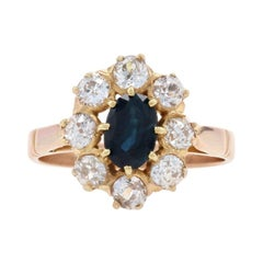 Rose Gold Sapphire & Diamond Edwardian Halo Ring 18k Oval 1.50ctw Antique Floral