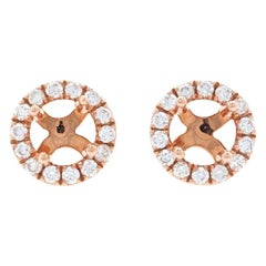 Rose Gold Semi-Mount Diamond Halo Stud Earrings, 14 Karat Round .20 Carat