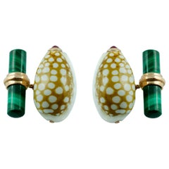 Rose Gold Shell Cufflinks with Malachite and Cabochon Rubies