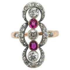 Rose Gold Silver Ruby and Diamond Antique Dress Ring, circa 1890