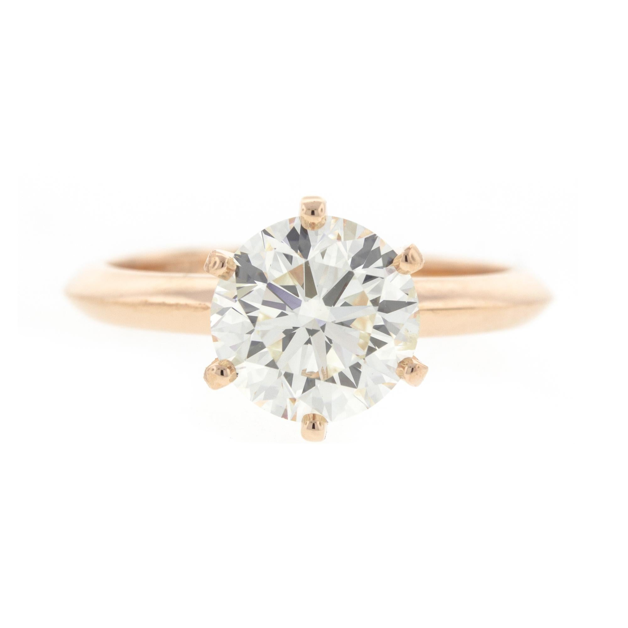 7b3e3470e4b809 Bezel Set Diamond Engagement Ring in Rose Gold 'GIA' For Sale at 1stdibs