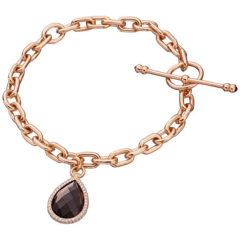 Nina Runsdorf Rose Gold Smokey Topaz Flip Charm Bracelet For Sale