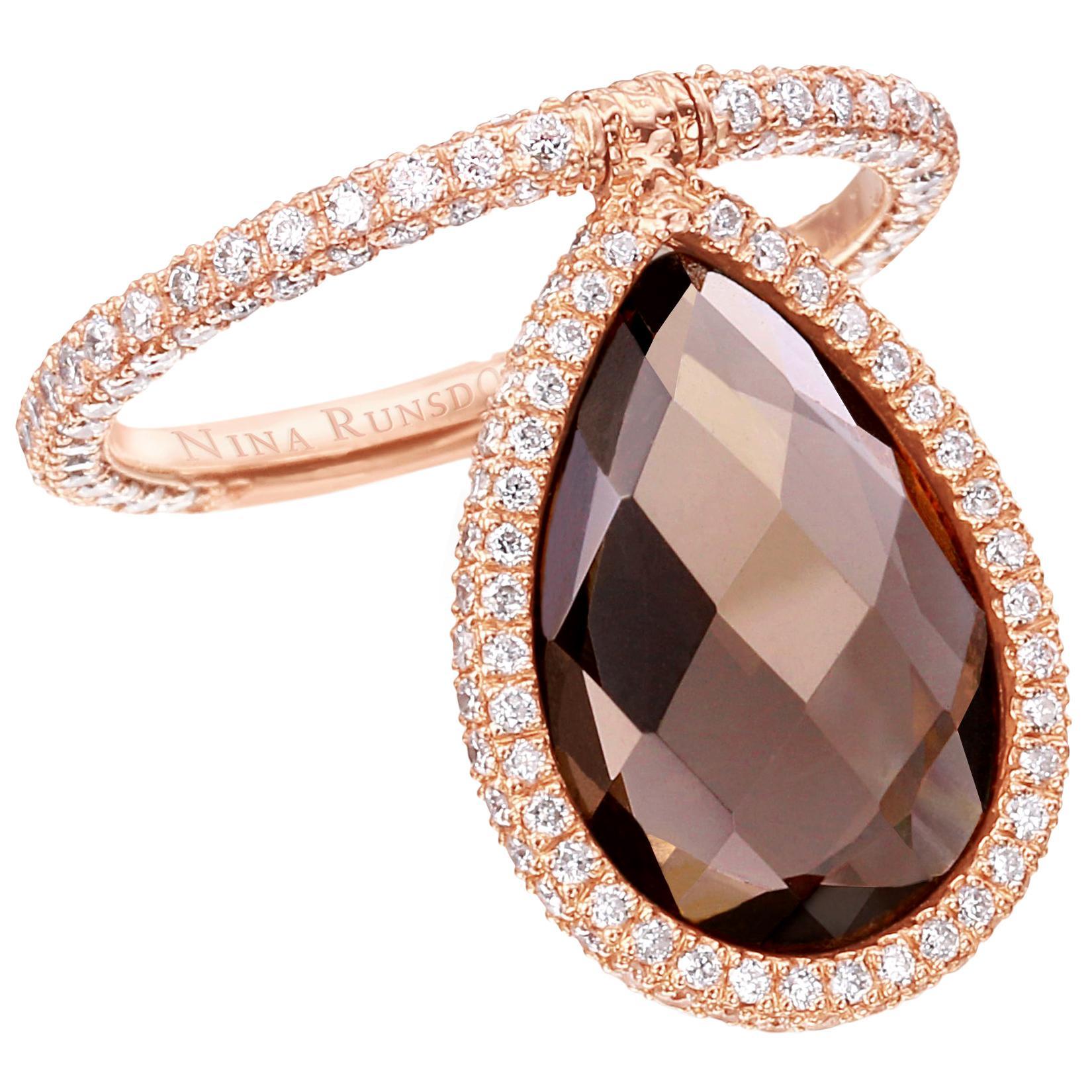 Nina Runsdorf Rose Gold Smokey Topaz Flip Ring