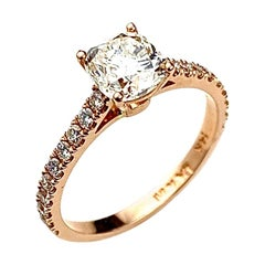 Rose Gold Solitaire Engagement Ring with Cushion Cut Center Diamond