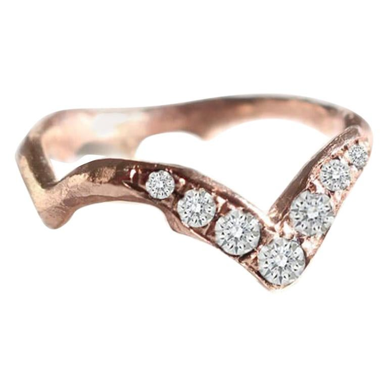 Rose Gold Stacking Band with White Diamonds