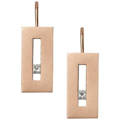 Rose Gold Suspended Rectangle with Diamond Earrings