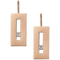 Diamond in Rose Gold Suspended Rectangle Earrings