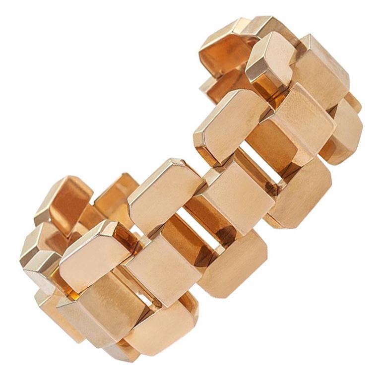 Rose Gold Tank Track Bracelet