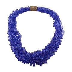 Rose Gold Tanzanite Briolette Necklace with a Diamond Clasp, 942 Carat