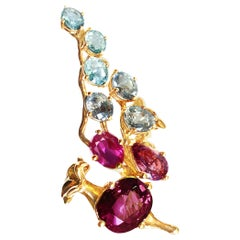 Rose Gold Tobacco Brooch with GRS Certified Pigeon's Blood Ruby and Sapphires