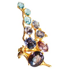Rose Gold Tobacco Contemporary Brooch with Sapphires and Paraiba Tourmalines