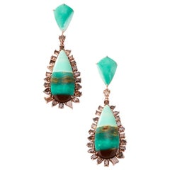 Nina Runsdorf Rose Gold Tree Opal and Brown Diamond Earrings
