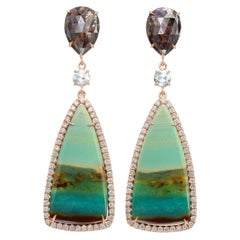 Nina Runsdorf Rose Gold Tree Opal and Brown Rough Diamond Earrings