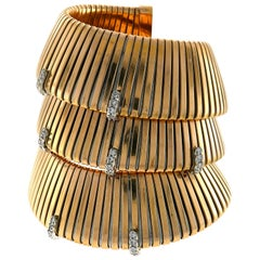 Rose Gold Tubogas Wrap Bracelet with Diamond and Ruby