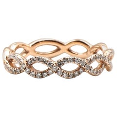 Rose Gold Twisted Diamond Wedding Band Stackable Ring