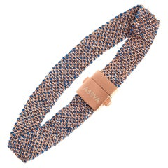 Rose Gold Vermeil and Blue Silk Weaved Bracelet
