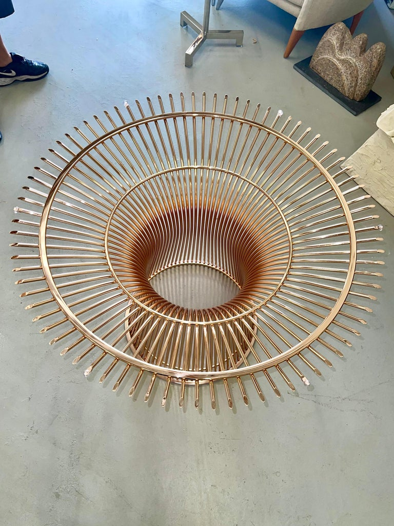 Machine-Made Rose Gold Warren Platner for Knoll Dining Table For Sale