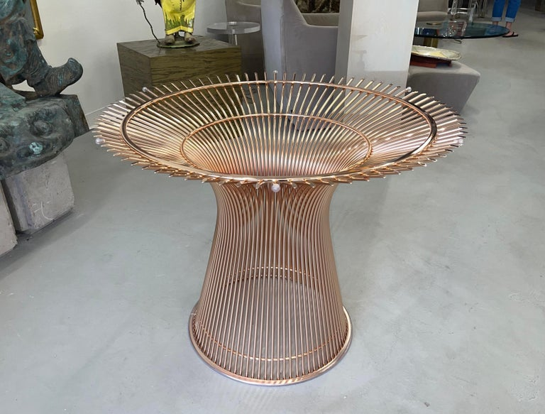 Rose Gold Warren Platner for Knoll Dining Table In Good Condition For Sale In Palm Springs, CA