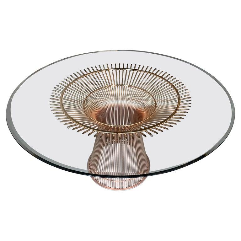 Rose Gold Warren Platner for Knoll Dining Table For Sale