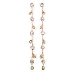 Nina Runsdorf Rose Gold Waterfall Rosecut and Briolette Chain Earrings
