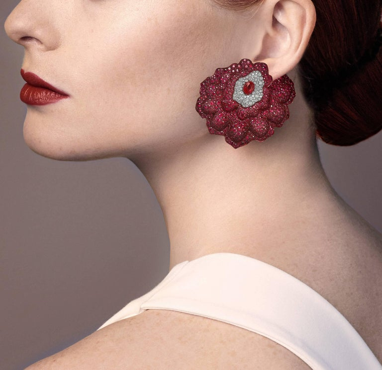 Women's Rose Gold, White Diamonds and Mozambican Rubies Flower Ear Clips For Sale