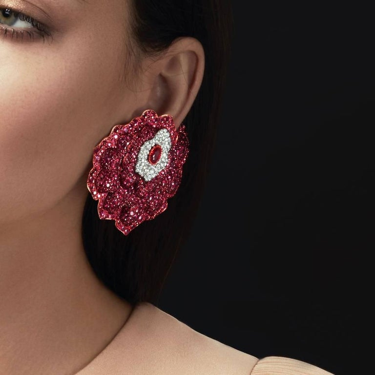 Rose Gold, White Diamonds and Mozambican Rubies Flower Ear Clips For Sale 2