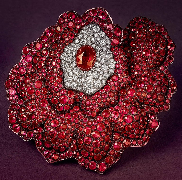 Rose Gold, White Diamonds and Mozambican Rubies Flower Ear Clips For Sale 3