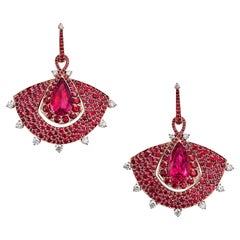 Fan Earrings in 18K Rose Gold, White Diamonds, Mozambican Ruby and Rubellite