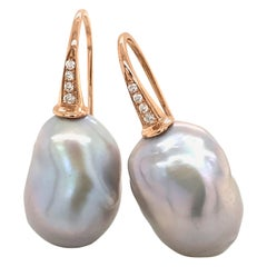 Rose Gold with Diamonds and Baroque South Seas Greys Pearls Drop Earrings