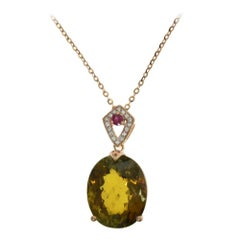 Rose Gold with Diamonds, Tourmaline and Ruby, GIA Certificate Pendant Necklace