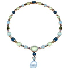 Rose Gold with Gemstones and a Baroque South Sea Pearl Necklace
