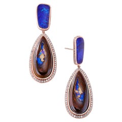 Nina Runsdorf Rose Gold Yahwah and Blue Opal Earrings
