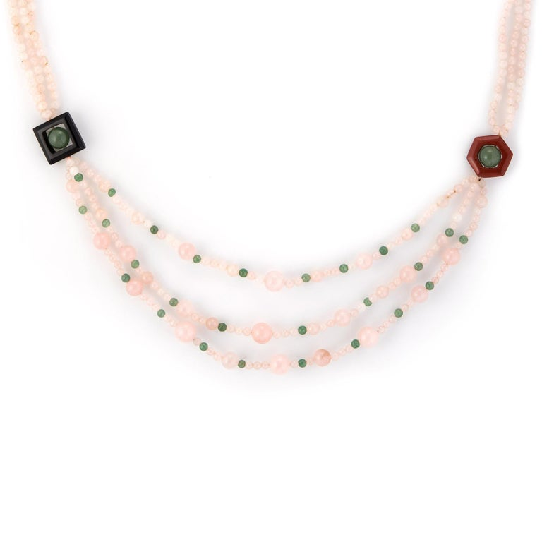 Modern Rose Green Quartz Onyx Agate Long Necklace Estate Vintage Jewelry For Sale