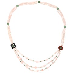 Rose Green Quartz Onyx Agate Long Necklace Estate Vintage Jewelry