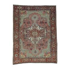 Rose/Green/Red 1880 Antique Persian Serapi Rug