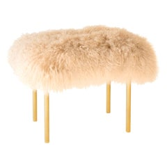 Rose Handcrafted Mongolian Lamb Sheepskin Fur and Brass Leg Stool