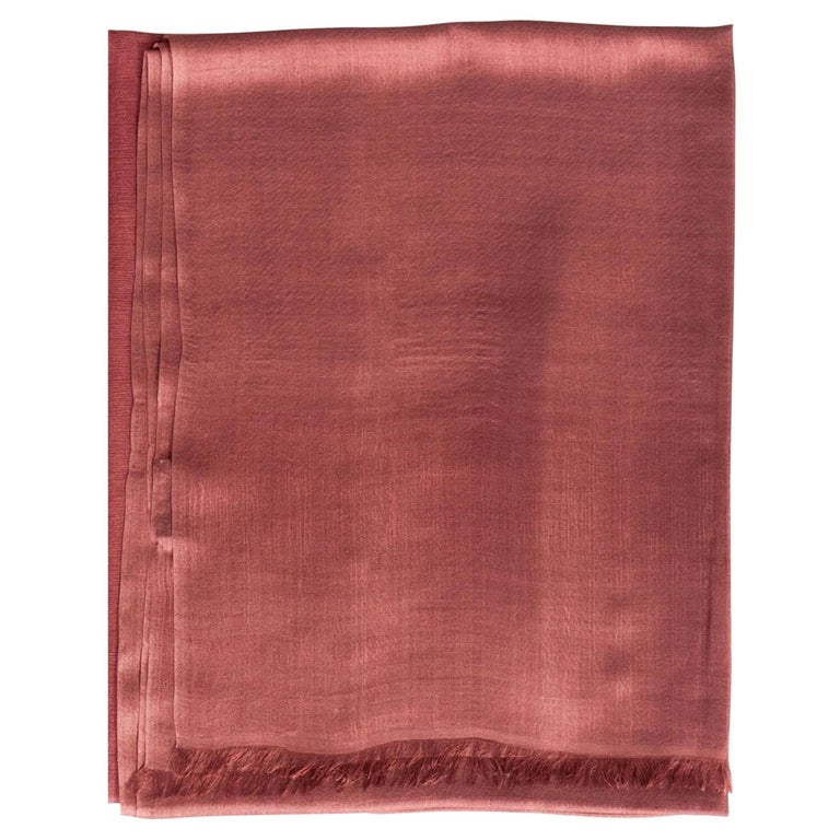 Rose Handloom Cashmere Silk Scarf For Sale