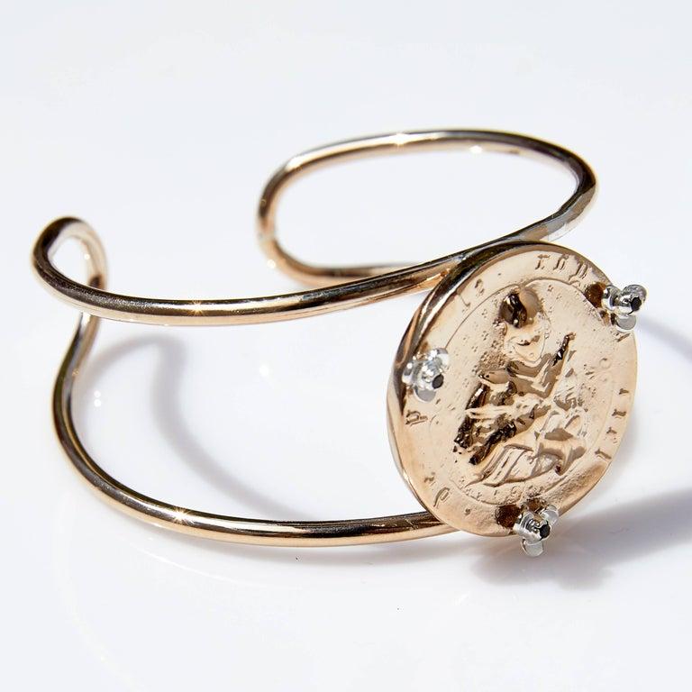 Rose Joan of Arc Medal Arm Cuff Bangle Smoky Quartz Silver Bronze J Dauphin  J DAUPHIN